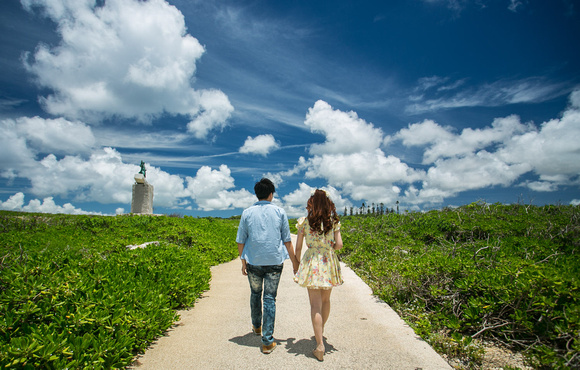 pre wedding at Zanpa with epic beautiful Okinawa clouds